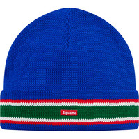 Supreme: Striped Cuff Beanie - Royal