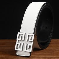 Givenchy Men Fashion Smooth Buckle Belt Leather Belt White G
