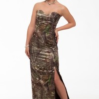 8073 Slim Long Camo Dress Camouflage Prom Wedding Homecoming Formals