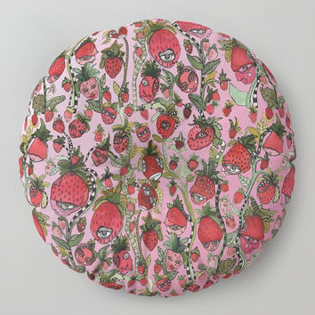 Strawberry fruit floor pillow meditation cushion colorful abstract floor pillows strawberries art cushion folk art pillow kids room decor