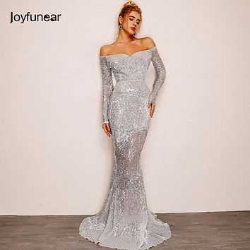 Joyfunear Autumn Women Long Party Dress 2018 Off Should Sequin Dress Silver Floor-length Mermaid Dresses Sexy Trumpet vestidos
