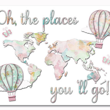 Pastel nursery wall art pink green map colorful baby girl room decor toddler artwork kids decoration oh the places you 'll go poster