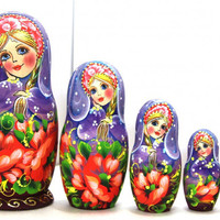FREE SHIPPING Nesting Doll purple Poppies set of 5 traditional Russian hand painted curved wood toy matreshka non toxic wood souvenir