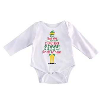Newborn Baby Boys Girls Long Sleeve Xmas Bodysuit Jumpsuit Outfits Set Clothes Christmas