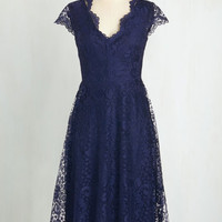 Long Cap Sleeves A-line Ever So Enchanting Dress