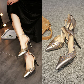 Stylish Design Summer Pointed Toe Hollow Out High Heel Shoes Ring Sandals [6048880961]
