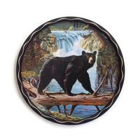 Vintage 60's Tole Tin Tray-James L Artig -Wildlife Artist-Bear and Waterfalls- Wildlife Tray-Father's Day, Wall Hanging-Rustic Cabin-Decor