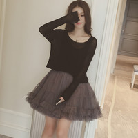 Black Long Sleeve Sheer Mesh Overlay Top and Grey Ruffled Skirt