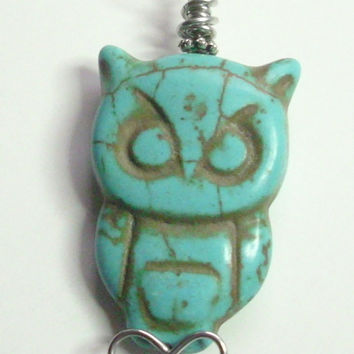 Owl Blue Magnesite Silver Wire Wrapped Pendant Necklace