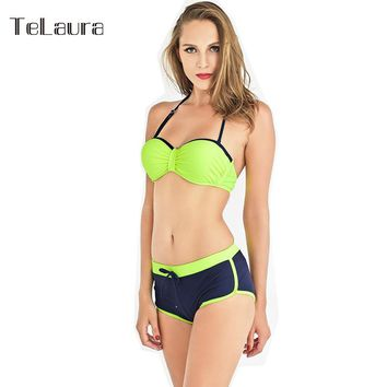 Sexy Girl Bikini 2017 Push Up Swimwear Halter Top Biquini Bikinis Women Swimsuit Bikini Shorts Bathing Suit Brazilian Bikini XXL