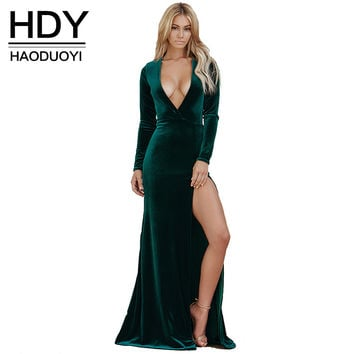 HDY Haoduoyi Solid Color Dress Women Slit Side V Neck Long Sleeve High Waist Maxi Dress Sexy Slim Party Club Dress Vestidos