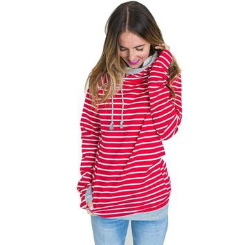 Striped Hooded Sweatshirt Pullovers Winter Warm Femme Hoodies
