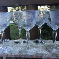 Vintage glassware, vintage etched martini glasses wine glasses w/prism stem, crystal wedding toasting glasses, Mid century bar cart glasses