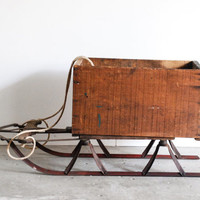 wooden sled, wooden sleigh, wood sleigh, beautiful old runner sled with sleigh box, Christmas sled decor, holiday sled, antique, vintage