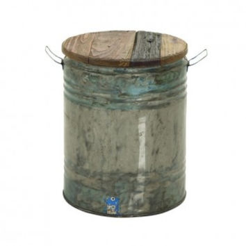 Wood Top Metal Drum Stool