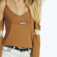 Robyn Open Shoulder Embroidered Sleeve Tunic