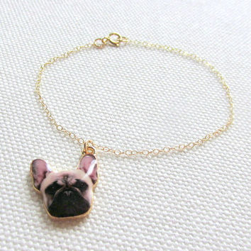 French Bulldog Bracelet, Gold Dog Charm Bracelet, Choose Gold Plate or Gold Fill Chain, Quirky Animal Jewelry Cute Dog
