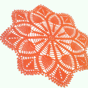 Crochet Doily, Orange,Table Centerpiece, Crochet Doilies,  Housewares, Table Decoration,