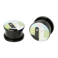 Acrylic Llama Love Spool Plugs 2 Pack