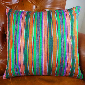 Ethnic Decorative Kente Throw Pillow Cover 18 x 18 - Modern Ghanaian Tribal Ewe Cloth