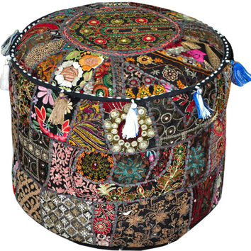 Bohemian Patchwork Pouf Ottoman Vintage Indian pouffe Foot Stool bean bag HANDMADE Ethnic Pouffe Bean Bag Cover Sari Patchwork floor pillow