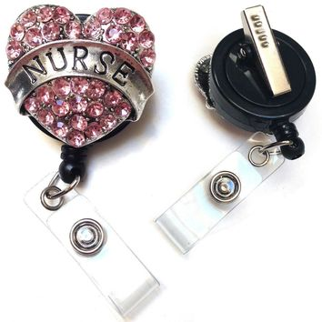 Nurse Pink Heart Rhinestone Retractable ID Badge