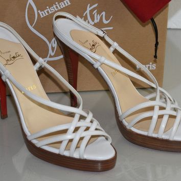 NEW Christian Louboutin CAGE ZEPPA Platform WHITE Leather Sandals Shoes 41