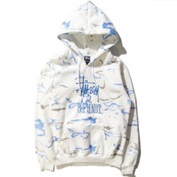 """Stussy"" Embroidered tie-dye men and women lovers sets add wool sweater White blue letters"