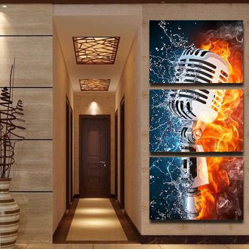 Wall Art Pictures HD Printed Living Room Home Decor 3 Pieces Microphone Fire Water Artistic Canvas Paintings Rock Music Posters