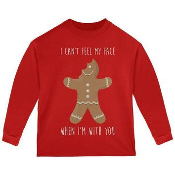 PEAPGQ9 Christmas Gingerbread Man Can't Feel My Face Toddler Long Sleeve T Shirt