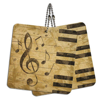 "Vintage Piano with Treble Clef and Music Notes Wood MDF 4"" x 4"" Mini Signs Gift Tags"