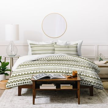 Allyson Johnson Green Aztec Duvet Cover