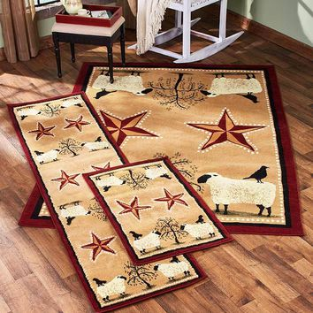 Primitive Rug Collection Country Farmhouse Style Accent Runner Area or the Set