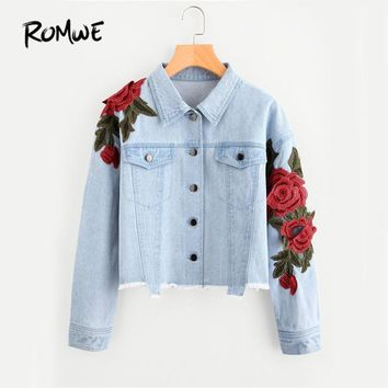 Rose Patch Raw Hem Denim Jacket Blue Lapel Cute Jacket Autumn Embroidery Single Breasted Casual Jacket