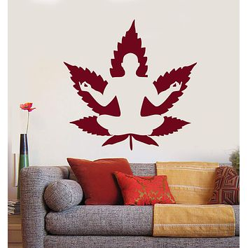 Vinyl Wall Decal Yoga Meditation Lotus Pose Zen Buddhism Stickers Unique Gift (1503ig)