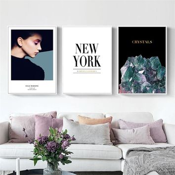 SURE LIFE Model Fashion Figure New York Minimalist Printing Canvas Paintings Poster Wall Art Picture for Living Room Home Decor