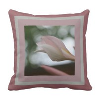 Floral, Plumeria Blooms framed in Pinks & Gray Throw Pillows