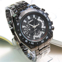 Mens Boys Casual Sports Watches Black Steel Strap Watch Best Christmas Gift