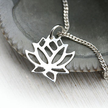 Silver Lotus Necklace, Dainty Necklace, Lotus Flower Jewelry, Layering Silver Necklace, Lotus Pendant, Bridesmaid gift, Sterling silver