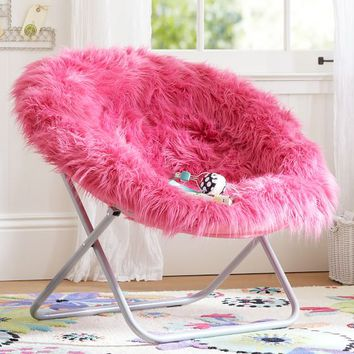 Deep Pink Fur-rific Faux Fur Hang-A-Round Chair