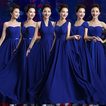 2017 new arrival long bridesmaid dress women formal gown adult royal blue modesty fashion a line chiffon floor length in stock
