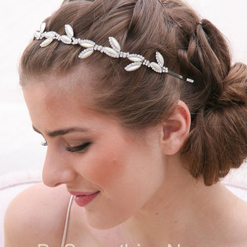Rhinestone Wedding Headband with Pearl Leaves, Crystal Bridal Tiara Wedding Headpiece, Rhinestone Wedding Crown