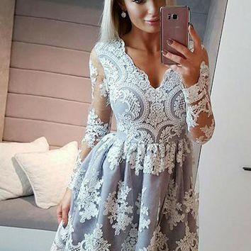 Women Ladies Formal Wedding Long Sleeve Party Ball Prom Gown Cocktail Floral Sweet Mini Dress A-Line White