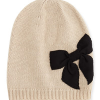 stitched bow slouchy beanie, deco beige - kate spade new york - Deco beige
