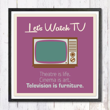 "Retro Art Print, Digital Art Print, Lets Watch TV, Quote Print, Retro Poster, Wall Art Print, Television Print, Instant Download, A4, 8""/8"""