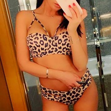 Women's Leopard Print Bikini Sexy Gathered Hard Pack Split Swimsuit Bikini Two-Piece Set