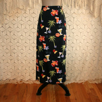 Tropical Print Skirt Novelty Palm Trees Cocktail Black Long Pencil Skirt Resort Wear Vacation Clothing Size 12 Skirt Large Womens Clothing