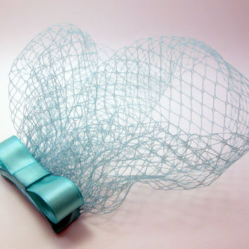 Sea Blue/Green Vintage Inspired Birdcage Veil Blusher Bow Fascinator - Something Blue Bridal - Breakfast at Tiffany's Themed Bachelorette