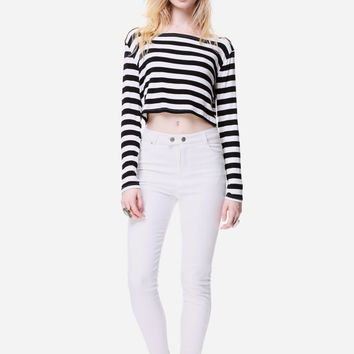 Black White & Stripes All Over Loose Cropped Top// Long Sleeve Loose Breezy Swing Boatneck Shirt