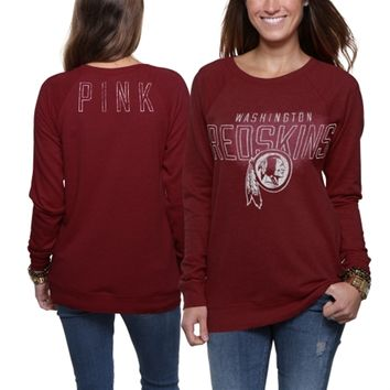 Victoria's Secret PINK Washington Redskins Ladies Boyfriend Fleece Sweatshirt - Burgundy